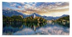Lake Bled Autumn View Beach Sheet