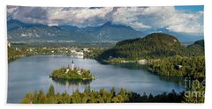 Beach Towel featuring the photograph Lake Bled Pano by Brian Jannsen