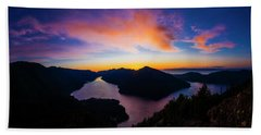 Lake Crescent Sunset Beach Towel by Pelo Blanco Photo