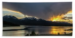 Lake Dillon And Gore Range Sunset Beach Towel