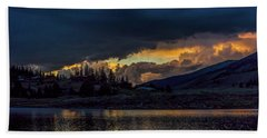 Lake Dillon Stormy Sunset Beach Towel