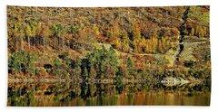 Lake District Autumn Tree Reflections Beach Towel