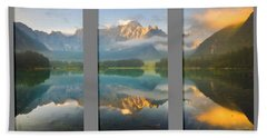 Lake Fusine In Triptych Beach Towel