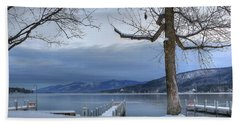 Lake George In The Winter Beach Towel by Sharon Batdorf