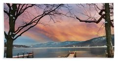 Lake George Winter Sunrise Beach Towel