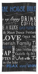 Lake House Rules Beach Towel
