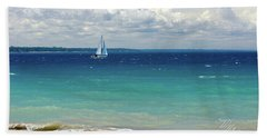 Beach Towel featuring the photograph Lake Huron Sailboat by Meta Gatschenberger