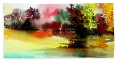 Lake In Colours Beach Sheet by Anil Nene