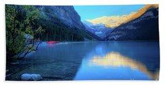 Lake Louise Autumn Bright Sunrise Banff National Park Beach Towel