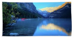 Lake Louise Autumn Bright Sunrise Banff National Park Beach Sheet