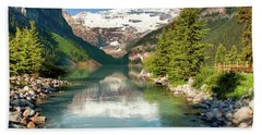 Beach Towel featuring the photograph Lake Louise by Mary Jo Allen