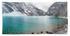 Lake Louise Mountain Snow Forest Landscape Beach Towel by Andrea Hazel Ihlefeld
