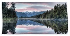 Lake Matheson Panorama Beach Towel