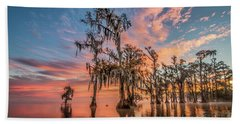 Lake Maurepas On Fire Beach Towel