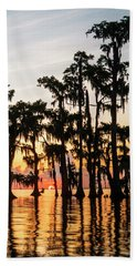 Lake Maurepas Sunrise Triptych No 1 Beach Towel by Andy Crawford