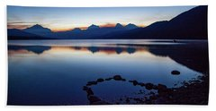 Beach Towel featuring the photograph Lake Mcdonald Sunrise Tranquility by Lon Dittrick