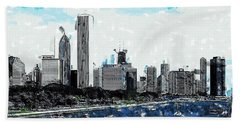 Lake Michigan And The Chicago Skyline Beach Towel
