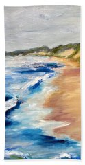Beach Towel featuring the painting Lake Michigan Beach With Whitecaps Detail by Michelle Calkins