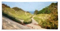 Beach Towel featuring the photograph lake Michigan Coastal Dune Path by Michelle Calkins