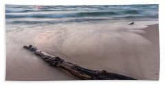 Beach Towel featuring the photograph Lake Michigan Driftwood by Adam Romanowicz