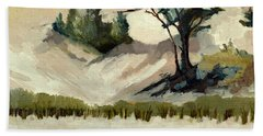 Beach Towel featuring the painting Lake Michigan Dune With Trees And Beach Grass by Michelle Calkins
