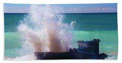 Lake Michigan Wave Crash Beach Towel