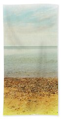 Beach Towel featuring the photograph Lake Michigan With Stony Shore by Michelle Calkins
