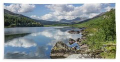 Lake Mymbyr And Snowdon Beach Towel by Ian Mitchell