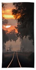 Lake Park Sunrise Beach Towel by Dan Wells
