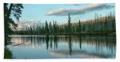 Lake Reflections Beach Sheet by Myrna Bradshaw