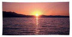 Lake Sunset 8pm Beach Towel