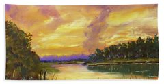 Lake Sunset - Pastel Painting Beach Towel by Barry Jones