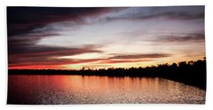 Beach Sheet featuring the photograph Lake Sunset, Pocono Mountains, Pennsylvania by A Gurmankin