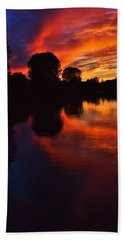 Lake Sunset Reflections Beach Towel