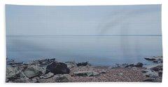 Lake Superior Shore In Duluth, Minnesota  Beach Towel