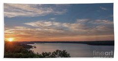 Lake Travis During Sunset With Clouds In The Sky Beach Towel
