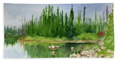 Beach Towel featuring the painting Lake View 1-2 by Yoshiko Mishina