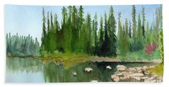 Beach Towel featuring the painting Lake View 1 by Yoshiko Mishina
