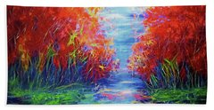 Olena Art Lake View Abstract Artwork Beach Sheet