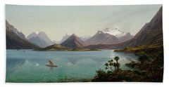 Lake Wakatipu With Mount Earnslaw. Middle Island New Zealand Beach Sheet