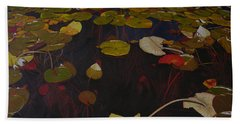 Beach Sheet featuring the painting Lake Washington Lilypad 7 by Thu Nguyen