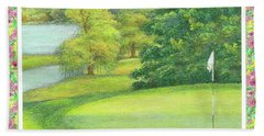 Beach Towel featuring the painting Lakeside Golfing Illustration by Judith Cheng