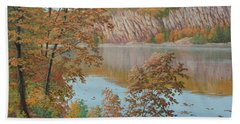 Lakeside In October Beach Towel