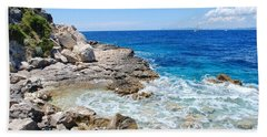 Lakka Coastline On Paxos Beach Towel