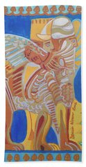 Beach Sheet featuring the painting Lamassu by Denise Weaver Ross
