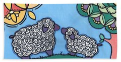 Lamb And Mama Sheep Beach Towel