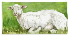 Lamb In Spring Beach Towel