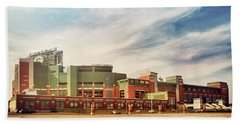 Beach Towel featuring the photograph Lambeau Field Retro Feel by Joel Witmeyer
