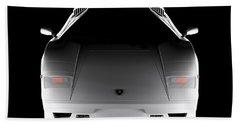Lamborghini Countach 5000 Qv 25th Anniversary - Front View  Beach Towel