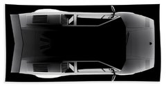 Lamborghini Countach 5000 Qv 25th Anniversary - Top View Beach Sheet